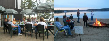 """Reserved campfire site to tell ghost stories and do the """"unofficial"""" Gull Lake Polar Plunge and our very own patio setting for all to gather."""